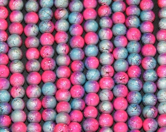 "6mm Round pink and light blue ceramic glass beads - 16"" / 8"" / 4"" strands - generous quantity discounts start @ 10 dollars!!!"