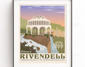Rivendell poster. Retro travel poster. Lord of the rings. Elves wall art. The hobbit. Tolkien fantasy. Middle earth. Literary illustration