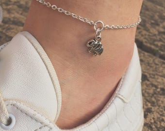 Silver anklet - elephant anklet - silver elephant anklet - silver ankle bracelet - dainty silver anklet - thin silver anklet