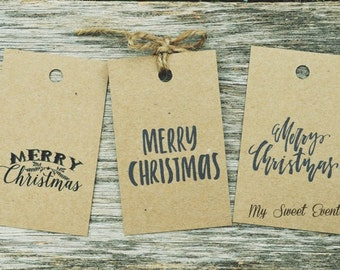 Merry Christmas Tags, Printable christmas Tags, Black Watercolor Gift Tags, Instant Download, Merry Christmas Script Tags, Printable Tags