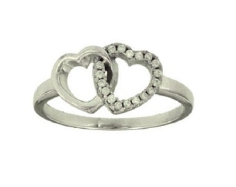 Silver CZ Double Heart Ring #4956 Size 7