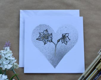 Botanical Greetings Card, Daffodil and Silver Heart Card, Hand Draw,  Easter Card, Birthday Card, Mothers Day Card, Card For All Occasions