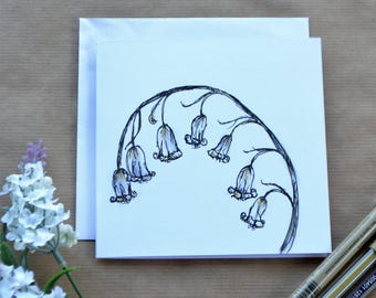 Botanical Bluebell Greetings Card - Hand Drawn Bluebell, Birthday Card, Mothers Day Card, Easter Card, Card For All Occasions