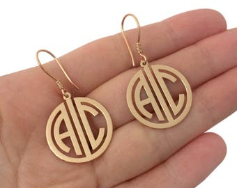 Personalized Monogram Earrings, Two Initial Monogram Earrings, Gold Monogram Earrings, Silver Monogram Earrings, Monogram Jewelry