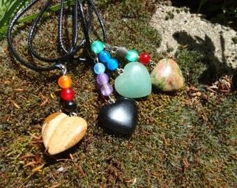 "necklace ""hanging heart"", black onyx, unakite, aventurine, Jasper image"