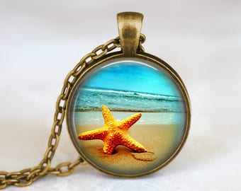 Starfish Necklace Beach Star Necklace Beach Jewelry - Starfish Summer Necklace Summer Beach Pendant Starfish Charm Necklace Beach Pendant