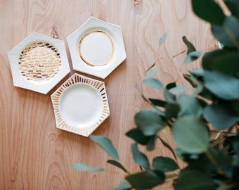 set of 3 gold luster honeycomb ceramic dishes