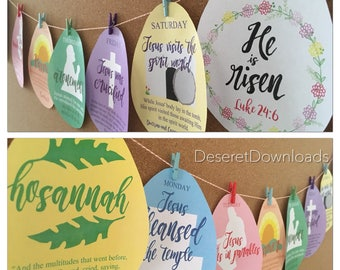 DIGITAL Easter Countdown Lesson Jesus' Last Week Resurrection Atonement Crucifixion Eggs Lds Primary Sharing Time Fhe