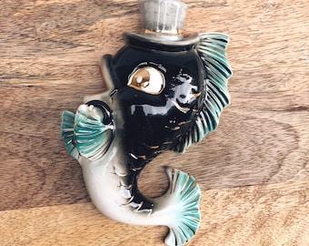 Antique fish wall pocket / japanese fish wall hanging / porcelain fish / japanese porcelain fish