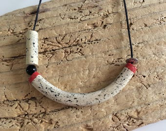 Necklace tube, ceramic, ceramic