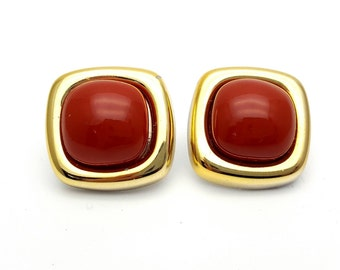 Modern Square Gold Tone and Orange Plastic Size Stud Earrings Vintage from the 80s Hard Plastic Geometric Costume Jewelry Abstract