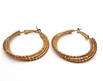 Three Strand Embellished Pierced Medium Hoop Earrings Vintage Round Gold Tone Metal from the 90s
