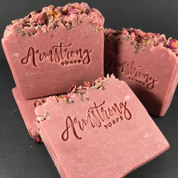 Rose and Cedarwood Madder Root and Rose Clay and Essential Oil Soap - 100% All Natural - Rustic Handmade Soap