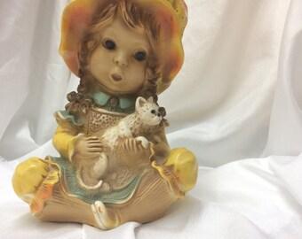 Vintage 1974 Universal Statuary Corp. #293 Alice Figurine/ Girl With Cat Chalkware Statue