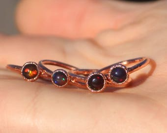 Black Opal Ring // Electroformed Copper Jewelry