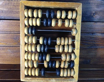 Soviet wooden abacus / Small wooden abacus / Vintage abacus / Wooden toy / Tools made in USSR in 60s