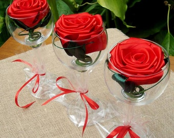 Wedding table decoration ,Satin Roses ,Wineglass roses