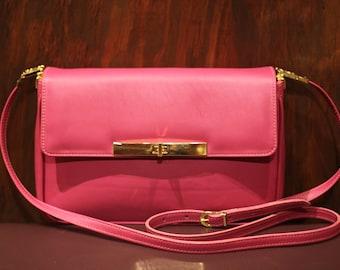 Pink Lamb Leather Crossbody Bag