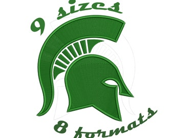 9 Sizes Michigan State Spartans Inspired Machine Embroidery Designs in 8 formats and 9 sizes