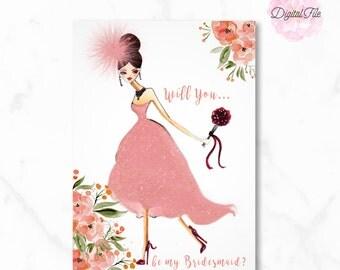 Peach Will you BRIDESMAID? Bridal Party Card Custom Bridal Shower Bridesmaid Gift