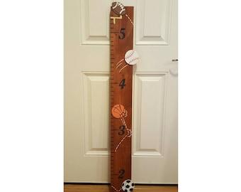 Sports Growth Chart, Nursery Decor, Sports Themed Ruler, Handpainted Wooden Growth Chart, All Star Wall Decor