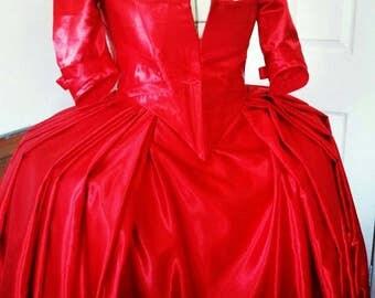 Budget Custom Made Outlander Claire Fraser 18th Century Red Dress