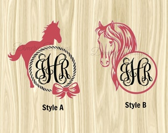 Horse decal with monogram initials, horse lover decal, Country girl decal, farm girl decal, decal for car, yeti cup, rtic ozark orca laptop