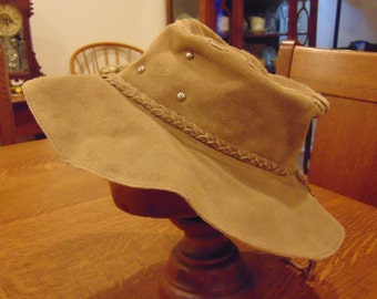 Vintage Leather Silver Studded Hat with Braid and Brass Buttons (free Shipping)