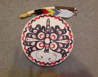 "12"" Hand Painted Native American Hand Drum"