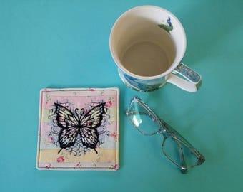 Mug Rug, Quilted Mug Rug, Embroidered Mug Rug, Coaster,  Butterfly, Mothers Day Gift