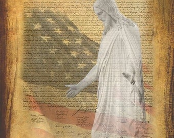 Patriotic-Fourth of July image of Christ and the Declaration of Independence.