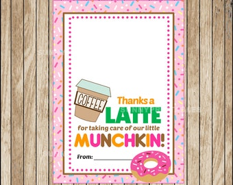 Printable  Gift Card Holder ,  Printable Thanks A Latte Coffee , Printable Teacher Appreciation gift cards instant download