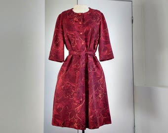 Vintage red dress, handmade red summer dress, Mad men suitable for work dress, knee length with 3/4 sleeves, Size M