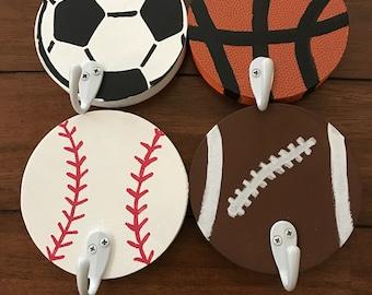 Sports  Hooks - #hooks #boysdecor #girlsdecor #baseballdecor #basketballdecor #soccerdecor #footballdecor