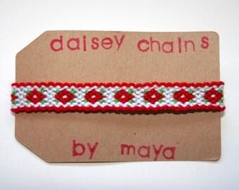 Flower Friendship Bracelet, Red White Friendship Bracelet, Custom Bracelet, Woven Bracelet, Friendship Bracelet