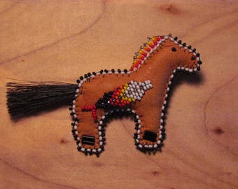 Native American Beaded Horse Pin RezKin® Horse Pin Beaded Horse