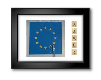 Banksy Dover Stars Mural with Scrabble Print - Landscape