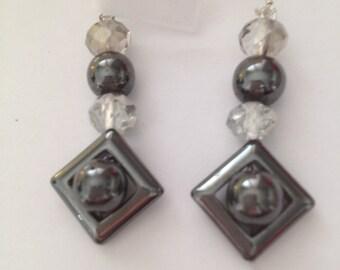 SWAROVSKI elements and HEMATITE earrings