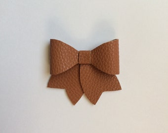 Faux Leather Bow, Brown faux leather Bow, baby Faux Leather Bow, Girl Faux Leather Bow