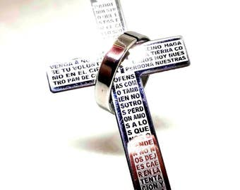 """Stainless Steel Cross Pendant Necklace on Stainless Steel 18""""  Bail Chain, Unisex, Military Man,  Religious Jewelry Gift, Unusual Style,"""