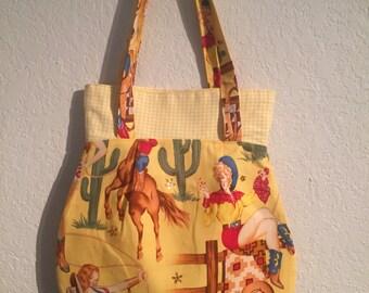 Handmade Shoulder Fabric Bag Pinup Cowgirls