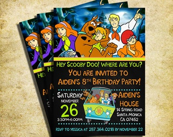 Scooby Doo Invitation - Scooby Doo Chalkboard Birthday Party Invite - Printable And Digital File