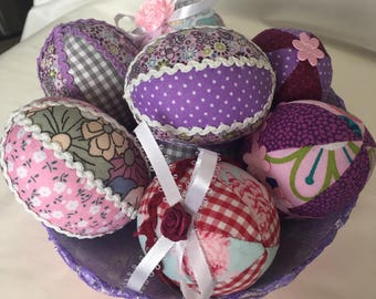Easter Eggs Set (8)-Easter-Decoration-Handmade-Textile Eggs