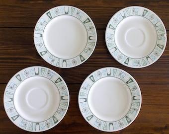 Vintage Mid Century Atomic Appetizer Plates, 4 Piece Retro Cathay Plate Set, MCM Plates, Vintage Appetizer Plates, Small Plate Set