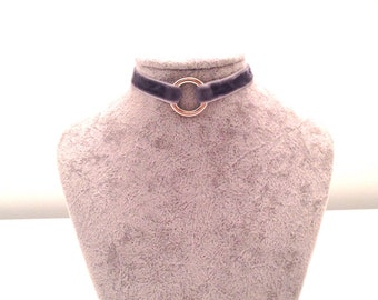 Grey Velvet O Ring Choker Adjustable