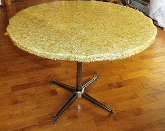 Unusual Mid-Century Modern Oyster Shell and Resin Cafe Table