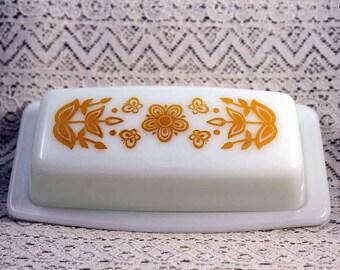 Pyrex Butter Dish, Vintage Pyrex Butterfly Butter Dish, Pyrex Butterfly
