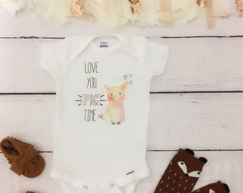 Love You Pig Time, funny baby onesie, cute baby onesie, girl baby onesie, funny baby onesies, funny boy onesie, farm onesies, baby onesie