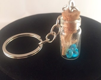 Handmade message in a bottle vial keyring