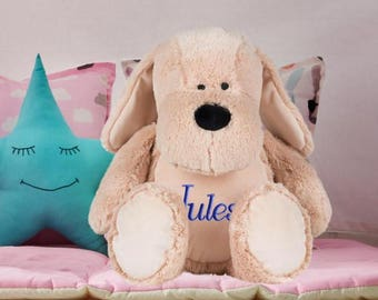 Stuffed dog custom embroidered with your name personalized kids gift